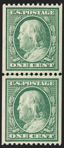 Sale Number 1206, Lot Number 381, 1908-10 Washington-Franklin Issues (Scott 331-356)1c Green, Coil (348), 1c Green, Coil (348)