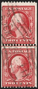 Sale Number 1206, Lot Number 383, 1908-10 Washington-Franklin Issues (Scott 331-356)2c Carmine, Coil (349), 2c Carmine, Coil (349)