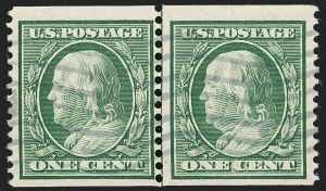 Sale Number 1206, Lot Number 387, 1908-10 Washington-Franklin Issues (Scott 331-356)1c Green, Coil (352), 1c Green, Coil (352)