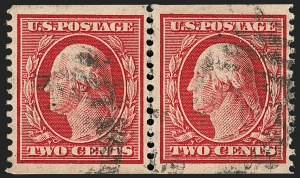 Sale Number 1206, Lot Number 389, 1908-10 Washington-Franklin Issues (Scott 331-356)2c Carmine, Coil (353), 2c Carmine, Coil (353)