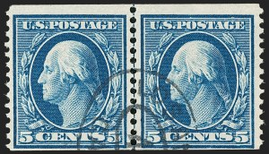Sale Number 1206, Lot Number 392, 1908-10 Washington-Franklin Issues (Scott 331-356)5c Blue, Coil (355), 5c Blue, Coil (355)