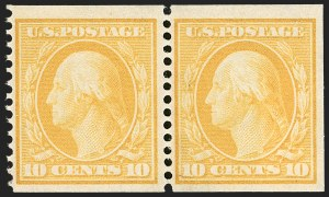 Sale Number 1206, Lot Number 393, 1908-10 Washington-Franklin Issues (Scott 331-356)10c Yellow, Coil (356), 10c Yellow, Coil (356)