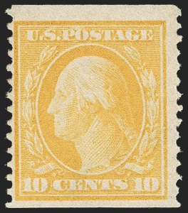 Sale Number 1206, Lot Number 394, 1908-10 Washington-Franklin Issues (Scott 331-356)10c Yellow, Coil (356), 10c Yellow, Coil (356)
