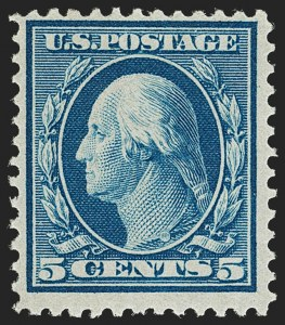 Sale Number 1206, Lot Number 398, 1909 Bluish Paper Issue (Scott 357-366)5c Blue, Bluish (361), 5c Blue, Bluish (361)