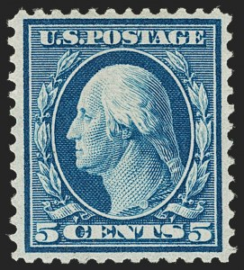 Sale Number 1206, Lot Number 399, 1909 Bluish Paper Issue (Scott 357-366)5c Blue, Bluish (361), 5c Blue, Bluish (361)