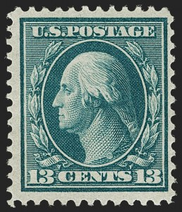 Sale Number 1206, Lot Number 405, 1909 Bluish Paper Issue (Scott 357-366)13c Bluish Green, Bluish (365), 13c Bluish Green, Bluish (365)