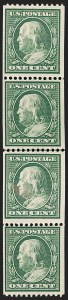 Sale Number 1206, Lot Number 416, 1910-13 Washington-Franklin Issue (Scott 374-396)1c Green, Coil (385), 1c Green, Coil (385)