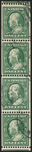 Sale Number 1206, Lot Number 419, 1910-13 Washington-Franklin Issue (Scott 374-396)1c Green, Coil (385), 1c Green, Coil (385)