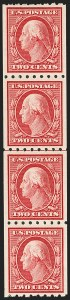 Sale Number 1206, Lot Number 424, 1910-13 Washington-Franklin Issue (Scott 374-396)2c Carmine, 1c Green, Coils (391, 392), 2c Carmine, 1c Green, Coils (391, 392)