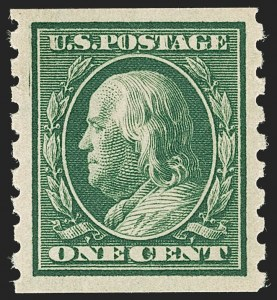 Sale Number 1206, Lot Number 425, 1910-13 Washington-Franklin Issue (Scott 374-396)1c Green, Coil (392), 1c Green, Coil (392)