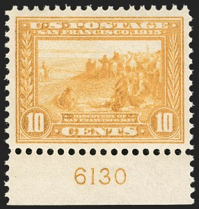 Sale Number 1206, Lot Number 436, 1913-15 Panama-Pacific Issue (Scott 397-404)10c Orange Yellow, Panama-Pacific (400), 10c Orange Yellow, Panama-Pacific (400)
