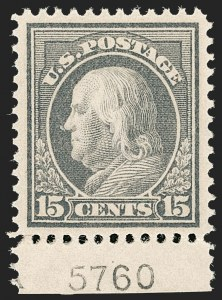Sale Number 1206, Lot Number 452, 1912-14 Washington-Franklin Issue (Scott 405-423)15c Gray (418), 15c Gray (418)