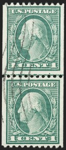 Sale Number 1206, Lot Number 474, 1913-15 Washington-Franklin Issues (Scott 424-461)1c Green, Coil (448), 1c Green, Coil (448)