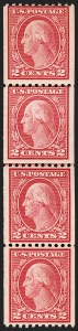 Sale Number 1206, Lot Number 476, 1913-15 Washington-Franklin Issues (Scott 424-461)2c Carmine, Ty. III, Coil (450), 2c Carmine, Ty. III, Coil (450)