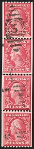 Sale Number 1206, Lot Number 477, 1913-15 Washington-Franklin Issues (Scott 424-461)2c Carmine, Ty. III, Coil (450), 2c Carmine, Ty. III, Coil (450)
