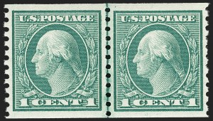 Sale Number 1206, Lot Number 479, 1913-15 Washington-Franklin Issues (Scott 424-461)1c Green, Coil (452), 1c Green, Coil (452)
