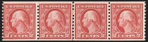Sale Number 1206, Lot Number 480, 1913-15 Washington-Franklin Issues (Scott 424-461)2c Carmine Rose, Ty. I, Coil (453), 2c Carmine Rose, Ty. I, Coil (453)