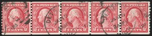 Sale Number 1206, Lot Number 483, 1913-15 Washington-Franklin Issues (Scott 424-461)2c Carmine Rose, Ty. I, Coil (453), 2c Carmine Rose, Ty. I, Coil (453)