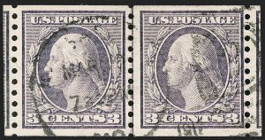 Sale Number 1206, Lot Number 487, 1913-15 Washington-Franklin Issues (Scott 424-461)3c Violet, Coil (456), 3c Violet, Coil (456)