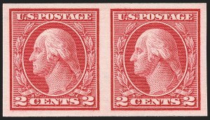 Sale Number 1206, Lot Number 491, 1913-15 Washington-Franklin Issues (Scott 424-461)2c Carmine, Ty. I, Imperforate Coil (459), 2c Carmine, Ty. I, Imperforate Coil (459)
