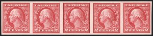 Sale Number 1206, Lot Number 492, 1913-15 Washington-Franklin Issues (Scott 424-461)2c Carmine, Ty. I, Imperforate Coil (459), 2c Carmine, Ty. I, Imperforate Coil (459)