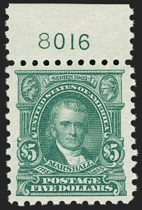 Sale Number 1206, Lot Number 507, 1916-17 Issues (Scott 462-480)$5.00 Light Green (480), $5.00 Light Green (480)