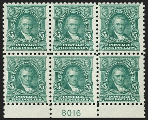 Sale Number 1206, Lot Number 509, 1916-17 Issues (Scott 462-480)$5.00 Light Green (480), $5.00 Light Green (480)