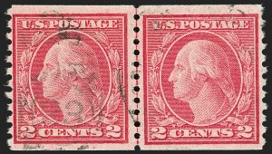 Sale Number 1206, Lot Number 513, 1917-19 Issues (Scott 481-524)2c Carmine, Ty. II, Coil (491), 2c Carmine, Ty. II, Coil (491)
