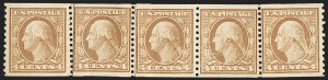 Sale Number 1206, Lot Number 517, 1917-19 Issues (Scott 481-524)4c Orange Brown, Coil (495), 4c Orange Brown, Coil (495)