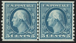 Sale Number 1206, Lot Number 518, 1917-19 Issues (Scott 481-524)5c Blue, Coil, Small Holes (496a), 5c Blue, Coil, Small Holes (496a)
