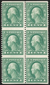 Sale Number 1206, Lot Number 519, 1917-19 Issues (Scott 481-524)1c Green, Vertical Pair, Imperforate Horizontally (498a), 1c Green, Vertical Pair, Imperforate Horizontally (498a)