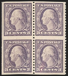 Sale Number 1206, Lot Number 522, 1917-19 Issues (Scott 481-524)3c Dark Violet, Ty. II, Vertical Pair, Imperforate Horizontally (502c), 3c Dark Violet, Ty. II, Vertical Pair, Imperforate Horizontally (502c)