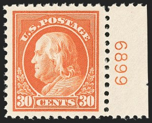 Sale Number 1206, Lot Number 540, 1917-19 Issues (Scott 481-524)30c Orange Red (516), 30c Orange Red (516)