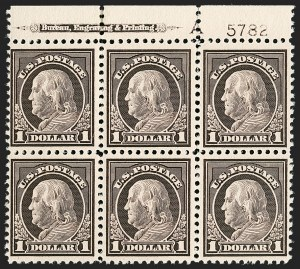 Sale Number 1206, Lot Number 544, 1917-19 Issues (Scott 481-524)$1.00 Violet Brown (518), $1.00 Violet Brown (518)