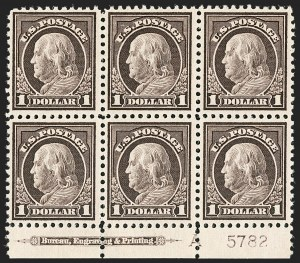Sale Number 1206, Lot Number 545, 1917-19 Issues (Scott 481-524)$1.00 Violet Brown (518), $1.00 Violet Brown (518)