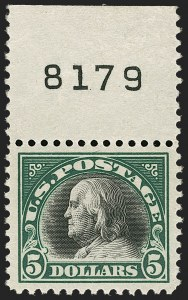 Sale Number 1206, Lot Number 552, 1917-19 Issues (Scott 481-524)$5.00 Deep Green & Black (524), $5.00 Deep Green & Black (524)