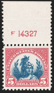 Sale Number 1206, Lot Number 592, 1922-29 Issues (Scott 551-621)$5.00 Carmine & Blue (573), $5.00 Carmine & Blue (573)