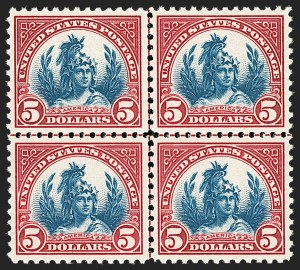 Sale Number 1206, Lot Number 594, 1922-29 Issues (Scott 551-621)$5.00 Carmine & Blue (573), $5.00 Carmine & Blue (573)