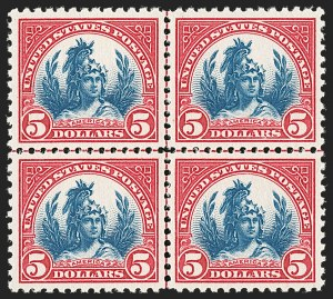 Sale Number 1206, Lot Number 595, 1922-29 Issues (Scott 551-621)$5.00 Carmine & Blue (573), $5.00 Carmine & Blue (573)