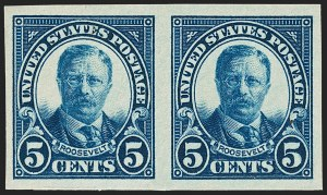 Sale Number 1206, Lot Number 598, 1922-29 Issues (Scott 551-621)5c Dark Blue, Imperforate Pair (557a), 5c Dark Blue, Imperforate Pair (557a)