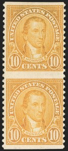 Sale Number 1206, Lot Number 599, 1922-29 Issues (Scott 551-621)10c Orange, Vertical Pair, Imperforate Horizontally (562a), 10c Orange, Vertical Pair, Imperforate Horizontally (562a)