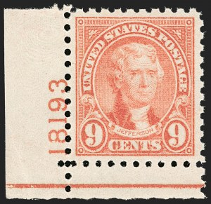 Sale Number 1206, Lot Number 603, 1922-29 Issues (Scott 551-621)9c Rose, Perf 10 (590), 9c Rose, Perf 10 (590)
