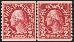 Sale Number 1206, Lot Number 609, 1922-29 Issues (Scott 551-621)2c Carmine, Joint Line Pair, Ty. I, II (599-599A), 2c Carmine, Joint Line Pair, Ty. I, II (599-599A)