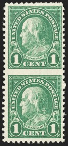 Sale Number 1206, Lot Number 619, 1925 and Later Issues (Scott 628-849)1c Green, Perf 11 x 10-1/2, Vertical Pair, Imperforate Between (632b), 1c Green, Perf 11 x 10-1/2, Vertical Pair, Imperforate Between (632b)