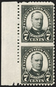 Sale Number 1206, Lot Number 623, 1925 and Later Issues (Scott 628-849)7c Black, Vertical Pair, Imperforate Between (639a), 7c Black, Vertical Pair, Imperforate Between (639a)