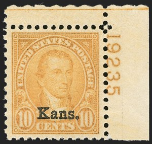 Sale Number 1206, Lot Number 629, 1925 and Later Issues (Scott 628-849)10c Kans. Ovpt. (668), 10c Kans. Ovpt. (668)