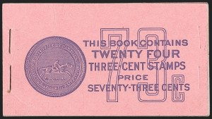 Sale Number 1206, Lot Number 645, 1925 and Later Issues (Scott 628-849)3c Deep Violet, 73c Unexploded Booklet (BK101), 3c Deep Violet, 73c Unexploded Booklet (BK101)