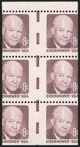 Sale Number 1206, Lot Number 651, Modern Varieties and Errors8c Eisenhower, Booklet Pane of Six, Vertical Imperforate Gutter (1395b var), 8c Eisenhower, Booklet Pane of Six, Vertical Imperforate Gutter (1395b var)