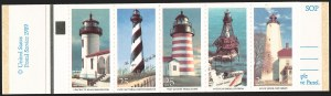 "Sale Number 1206, Lot Number 657, Modern Varieties and Errors25c Lighthouses, Booklet Pane of Five, ""25/USA"" Shifted to Bottom (2474a var), 25c Lighthouses, Booklet Pane of Five, ""25/USA"" Shifted to Bottom (2474a var)"