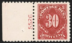 Sale Number 1206, Lot Number 707, Postage Due30c Carmine Lake (J57), 30c Carmine Lake (J57)